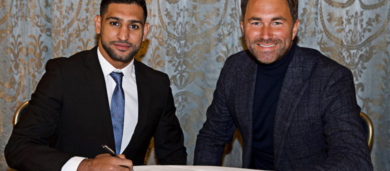 Amir Khan signs deal with Eddie Hearn, returns in April