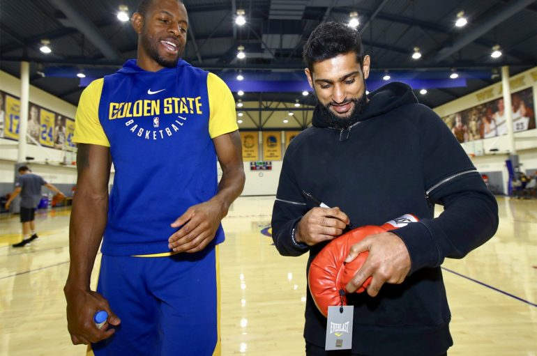 AMIR KHAN MEETS THE GOLDEN STATE WARRIORS